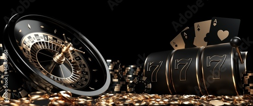 Canvastavla Roulette Wheel, Slot Machine, Four Aces Casino Chips And Coins, Modern Black And