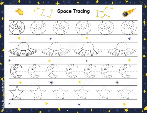 Canvas Print Trace space objects activity page for kids