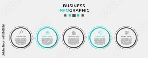 Foto Vector Infographic design business template with icons and 5 options or steps