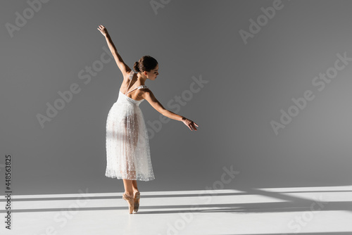Side view of elegant ballerina in pointe shoes on grey background with sunlight Fototapet