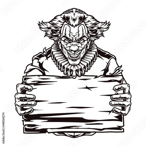 Tableau sur Toile Evil clown holding blank wooden board