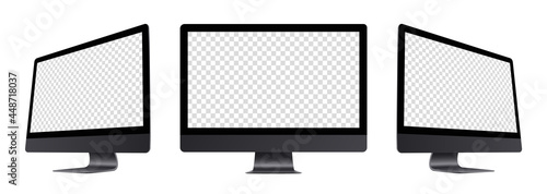 Wall mural Black monitor monoblock computer devices mockup set : front, left-side, right-side views. Realistic perspective mock-up sideways view. Isolated dark grey PC with empty screens. Vector illustration.