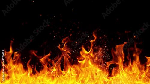 Obraz na plátně Texture of flames isolated on black background.