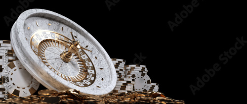 Photo Roulette Wheel, Casino Chips And Coins, Modern Wihte Marble And Golden Isolated On The Black Background