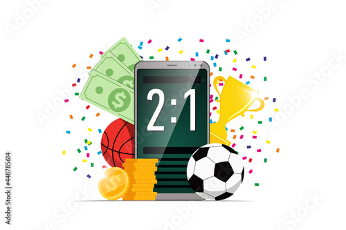 Online sports betting mobile app banner design template Fotobehang
