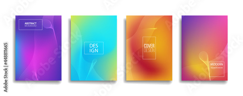 bright gradient color abstract line pattern background cover design. modern background design with trendy and vivid vibrant color. blue violet red orange green placard poster vector cover template.