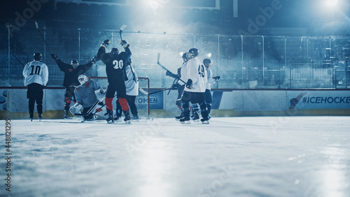 Fotografía Ice Hockey Rink Arena: Professional Forward Player Broke Defense, Hit Puck with Stick and Scored a Goal, Goalie Missed it