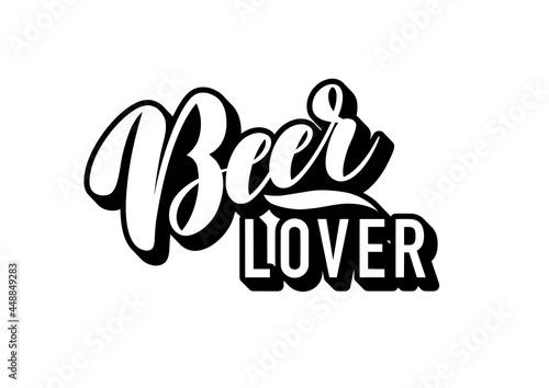 simple black and white lettering beer lover logo Fotobehang