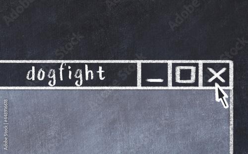 Billede på lærred Chalk drawig of browser window with inscription dogfight