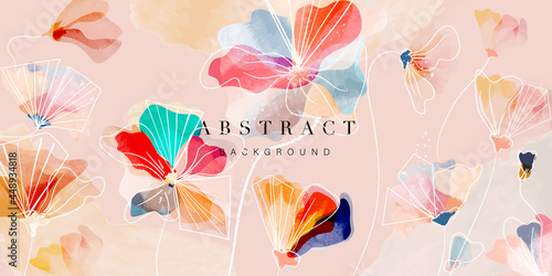 Watercolor art background vector. Wallpaper design with flower paint brush line art. Earth tone blue, pink, ivory, beige watercolor Illustration for prints, wall art, cover and invitation.