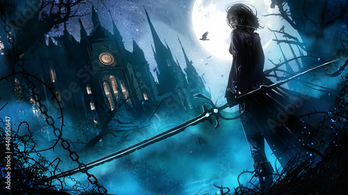 Fotografija A beautiful vampire hunter girl in a leather suit with a long magic saber stands at the entrance to a huge Gothic sabor, it's night and fog outside, a bright full moon illuminates the estate