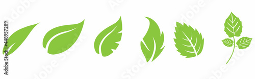 Leafs green set. Green leaf ecology nature element symbol isolated on white background