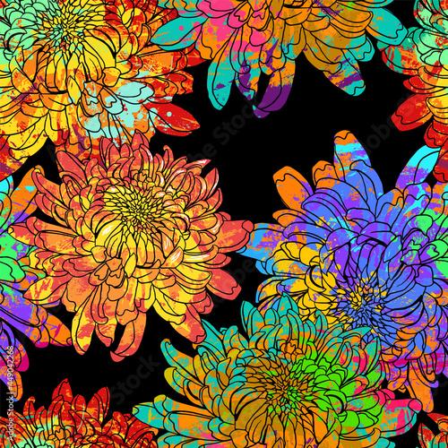 Tela seamless pattern Japanese chrysanthemum