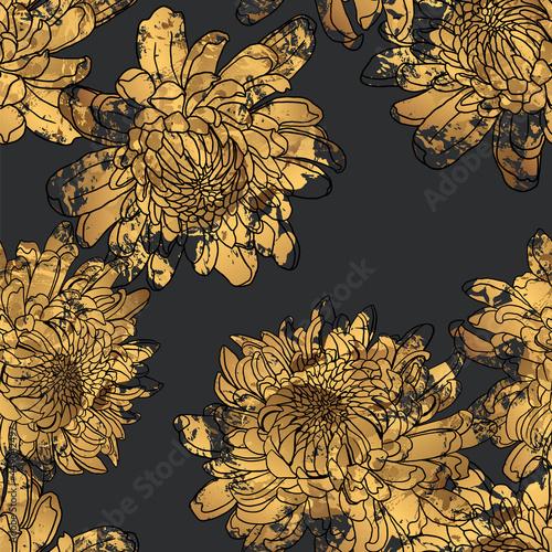 Wallpaper Mural seamless pattern Japanese chrysanthemum