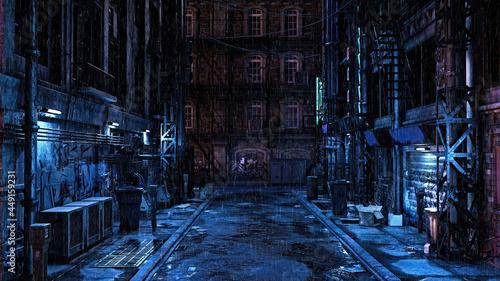 Fotografia 3D illustration of a dark seedy futuristic urban back street alley at night in the rain