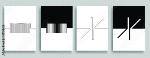Aesthetic geometric brochures . One line logo . Modern art .Abstract minimal negative space poster . Contemporary vector arrow design