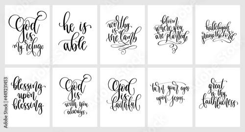 Fotografie, Obraz set of God hand lettering vector illustration