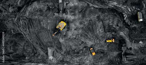Fotografie, Obraz Panorama open pit mine, extractive industry for coal, aerial drone top view