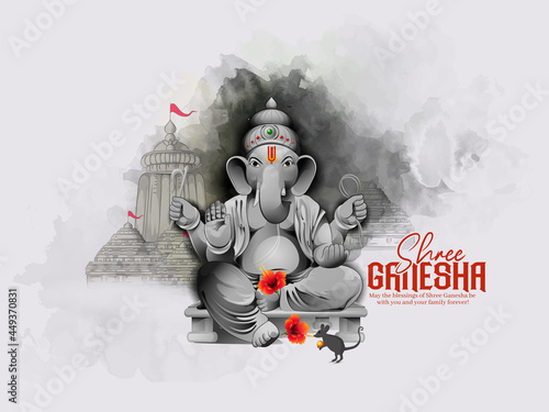 Photo illustration of Lord Ganpati for Ganesh Chaturthi Indian festival, Background