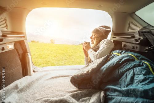 Fotografija Girl resting in her car