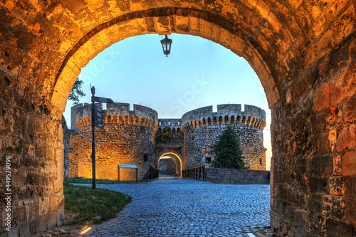 Carta da parati Belgrade fortress at sunset, Serbia