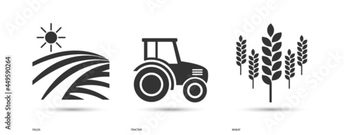 Obraz na plátně Field, Tractor and Wheat Icon Set with Shadows