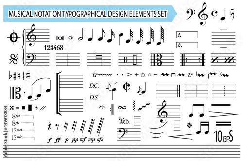 Musical notation, notes, music symbols and signs, set Fotobehang