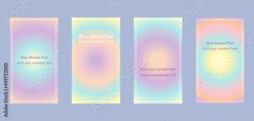 Social media stories template background - rainbow pastel soft gradient aura, or Fototapet