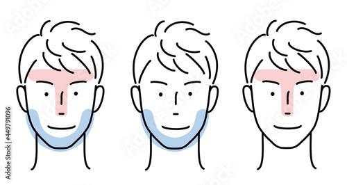 Slika na platnu 男性の顔 TゾーンとUゾーンのセット