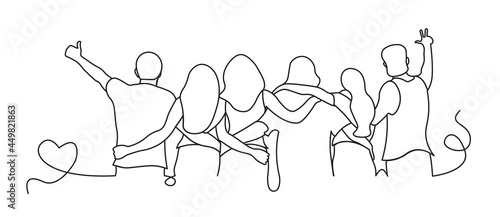 Stampa su Tela flat design illustration of people hugging line art