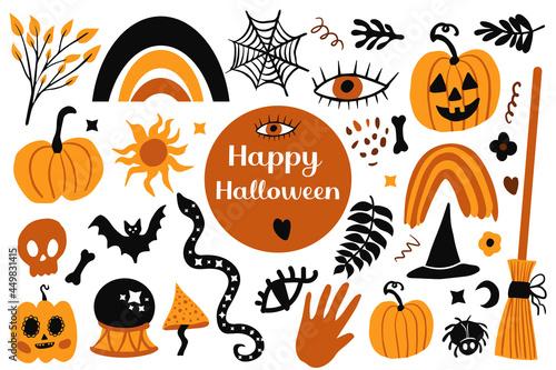 Fototapeta Happy halloween Boho abstract set