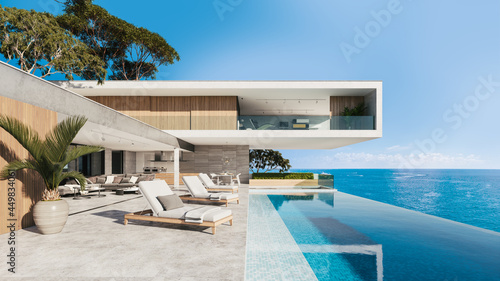 Foto Contemporary house with pool