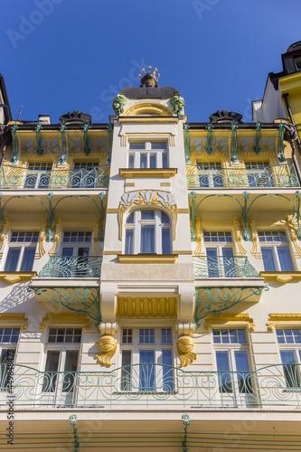 Obraz na plátně Decorated balconies on a historic building in Karlovy Vary, Czech Republic