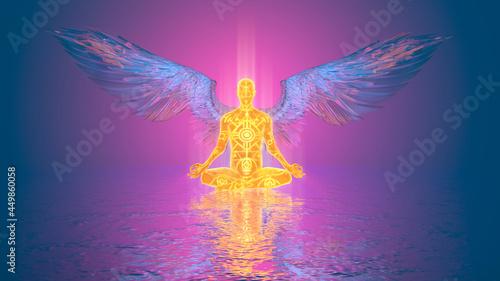 Foto 3d illustration of a fiery angel spreading crystal wings