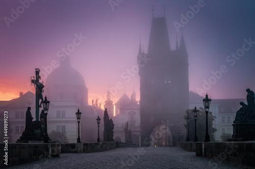 Canvas Charles bridge in Prague at foggy morning in Czech Republic.