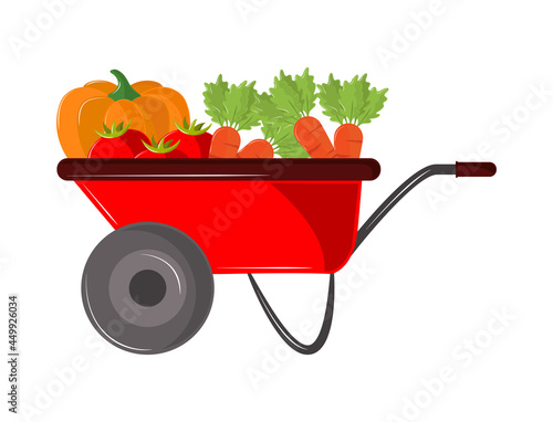 vegetables in wheelbarrow Fotobehang