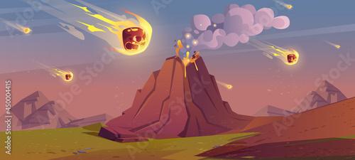 Obraz na płótnie Jurassic period landscape with erupted volcano