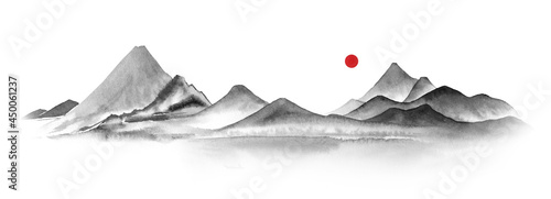 Foto Watercolor mountains in fog hand drawn in sumi-e style in traditional japanese painting on white background