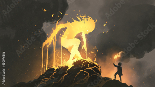 Photo A kid standing and holding a torch facing a burning giant, digital art style, il