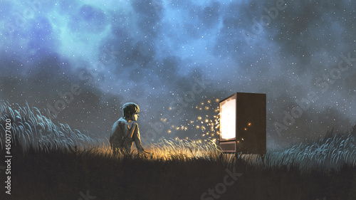 night scene of the boy watching an antique television that glowing and sparks fly out, digital art style, illustration painting