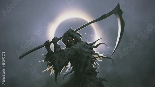 The Death as know as Grim Reaper holding the scythe against the eclipse in the background, digital art style, illustration painting