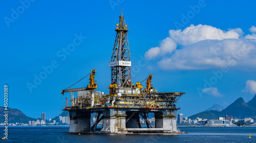 Offshore Exploration Platform For The Oil Industry In Guanabara Bay, Rio De Janeiro, Brazil
