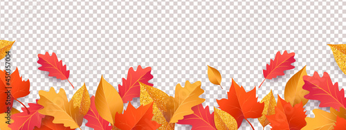 Fényképezés Autumn seasonal background with long horizontal border made of falling autumn golden, red and orange colored leaves isolated on background