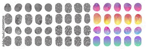 Fotografija Fingerprint icon set, finger print identity symbol, thumbprint sign