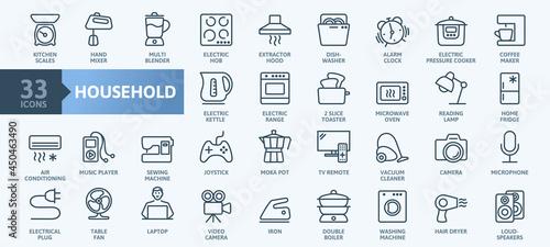 Fotografering Household appliances - thin line web icon set
