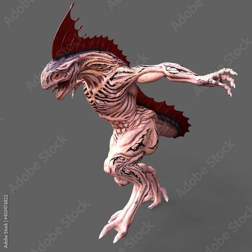 Slika na platnu 3D-illustration of an isolated dangerous alien