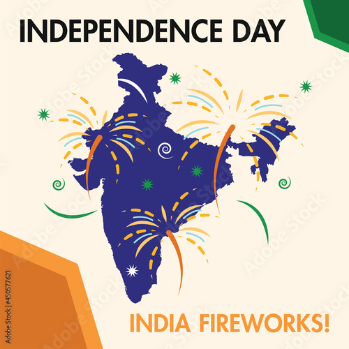 Happy India independence day poster with a map of India and fireworks Vector Fototapeta
