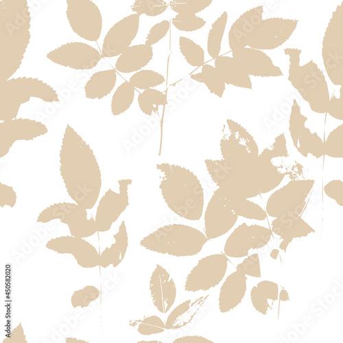 Beige seamless background twigs and leaves Fototapeta