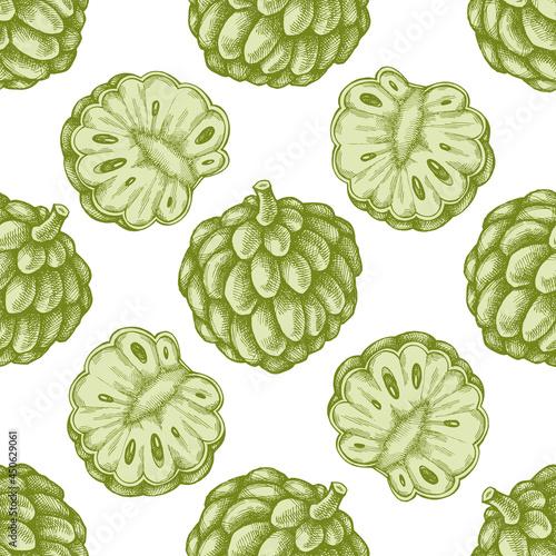 Fotografía Seamless pattern with hand drawn pastel sugar-apple