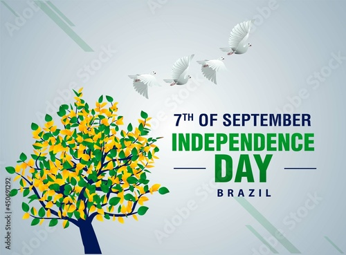 Fotografie, Obraz Brazil independence day poster design with tree and pigeon